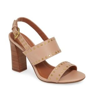 Coach Rylie Polished disc studs edge Blush Sandal,